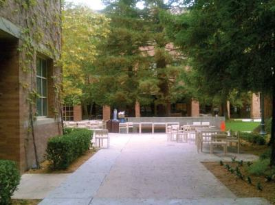 Side entrance to Shapiro Courtyard from Dodd Hall---Photo Credit: Kendal McAlpin